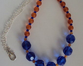 Orange and Blue Crystal Necklace
