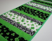 Quilted Table Runner , St. Patrick's Day Table Runner , Shamrocks , Scrappy Strips , Green/Black/White , Quiltsy Handmade
