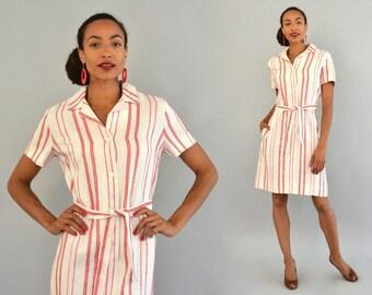 1960s I. Magnin Dress - Vintage 60s Pink and White Linen Shirt Dress with Belt Short Sleeve Sheath Shirtwaist Dress High End Designer Dress