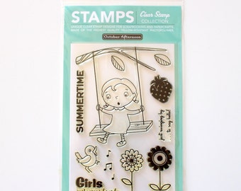 CLEARANCE! October Afternoon Clear Stamps Fly a Kite Tree Swing (New but Stamps turning yellow!)