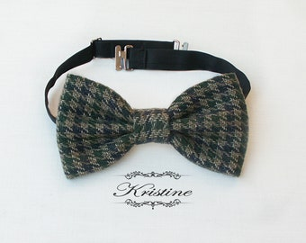 Olive green houndstooth bow tie. Handmade bow tie. Grey houndstooth bow tie gift for him wedding groomsmen