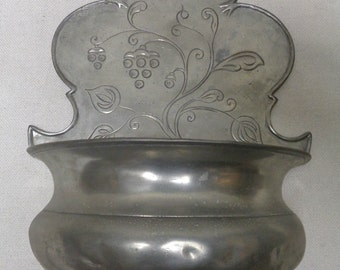 """Middle Eastern Vintage Wall Hanging Planter w. Engraved Floral Designs 12x8x4"""""""