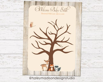 Woodland Baby Shower Fingerprint Tree Decoration DIGITAL FILE