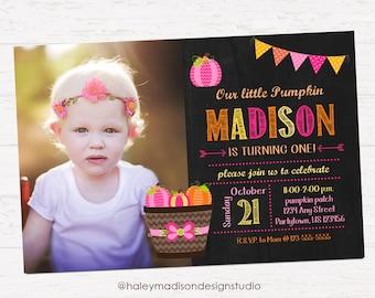Pumpkin Invitation, Girl Birthday Invitation, fall DIGITAL FILE