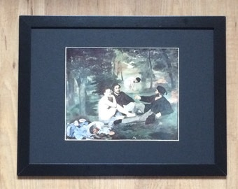 """Framed and Mounted Luncheon on the Grass Print by Edouard Manet 16"""" x 12"""""""