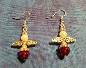 Christmas Angel Earrings - Silver Tone