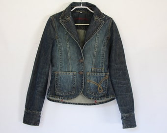 FREE Shipping / Jeans Vintage Jacket / BLUE Denim Sport Jacket/Spring Jacket /Women Denim Jacket/ Jackets with buttons /Size SMALL