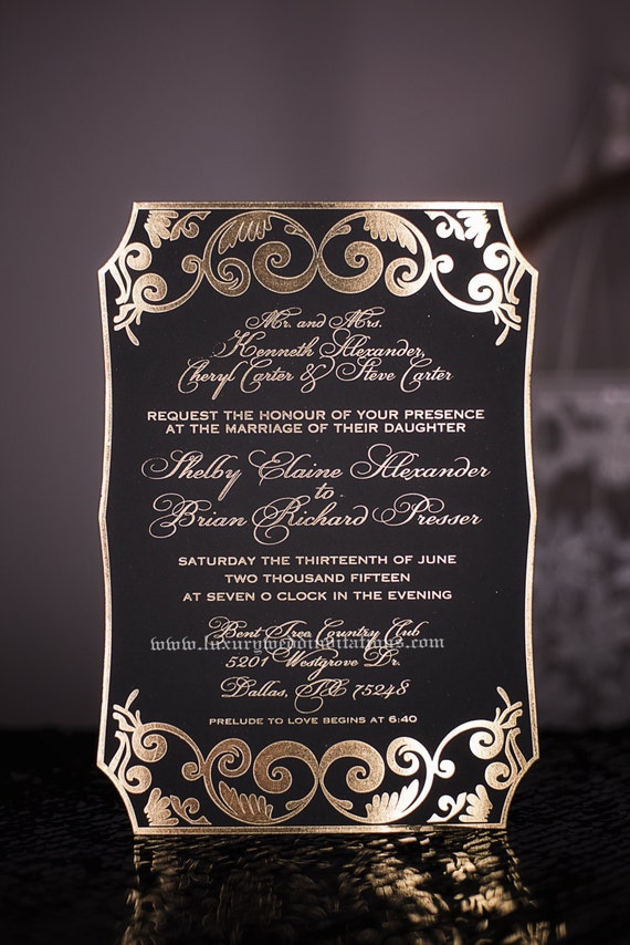 Gold Foil Wedding Invitations, A set Of 50