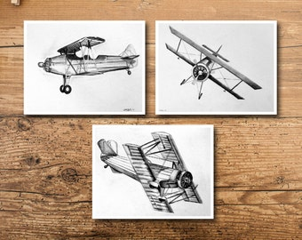 Vintage Airplane Decor - Vintage Airplane Art - Airplane Decor - Airplane Art - Vintage Bi-Plane Art