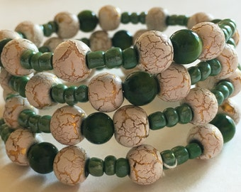 Green and ivory wrap bracelet