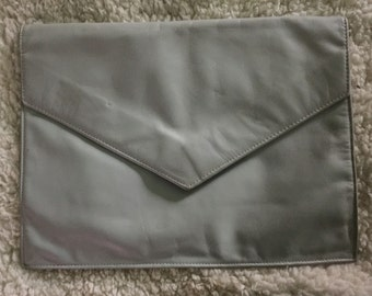 Vintage leather gray clutch handbag