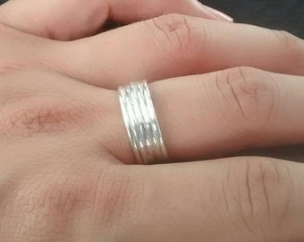 5 band silver ring