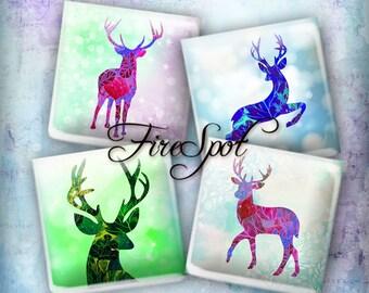 Watercolor deer Elk Animal - Digital Collage Sheet 1.5inch,1 inch,25 mm,20 mm Square Instant Download.Glass Pendant.Bottlecaps,Scrapbooking