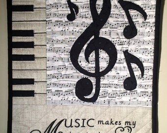 "Music Note Neutral Small Quilt Wall Hanging - ""Music Makes My Heart Sing"" -  #Q118"