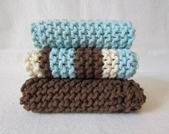 Set of 3 Robin's Egg Blue, Brown, & Natural Hand Made Wash Cloths