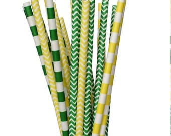 Yellow and Green Paper Straw Mix-Green Striped Straws-Saint Patrick's Day Decor-Luck of the Irish Party-Chevron Paper Straws-Summer Party