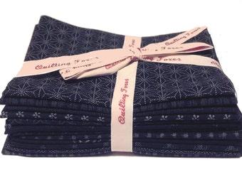 12 pcs Fat Eights Bundle Indigo Tone on Tone Japanese Quilting Fabric AP-F8B