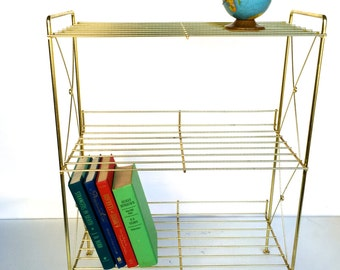 Mid-Century Three Tiered Gold Metal Book, Record or Magazine Stand