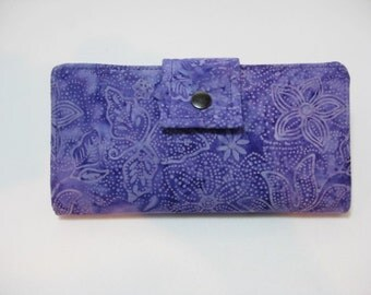 Purple Wallet, Ladies Handmade Wallet, Bifold Clutch
