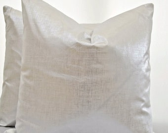 Metallic Pillow Cover, Linen Pillow Cover,Silver Pillow Cover, Silver Cushion Cover
