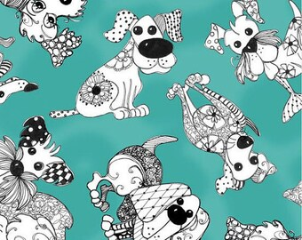 Loralie Designs - Doodle Dogs Turquoise