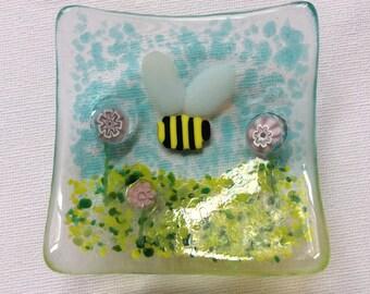 Fused Glass Bumble Bee Trinket Dish Earring Bowl Handmade Gift