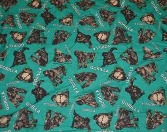 Vintage Novelty  Gorilla Fabric Piece 48 X 55 Inches