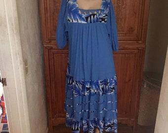 Loose Fit Cotton Woman Within Aloha Free Spirit Hippie Folk Muu Muu Maxi Dress 1 X
