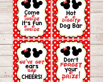 Printable Minnie Mickey Party Signs - Hot Diggity Dog Bar - Party Decorations - Welcome Sign - Mickey Mouse - Minnie Mouse - Party Favor