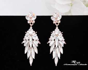 ROSE Gold crystal earrings wedding earrings bridal earrings Art Deco earrings bridal jewelry wedding jewelry bridesmaid earrings 1244RG