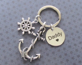 Father's Day gift - Large anchor keyring for Daddy - Father's Day keyring - Gift for Daddy - Daddy keychain with anchor and helm - Etsy UK