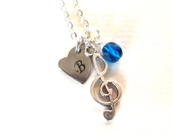 Personalised Treble clef necklace - Music lovers gift - Gift for music teacher - Treble clef birthstone necklace - music teacher gift - UK