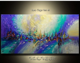 SALE 20% off ABSTRACT ORIGINAL Painting Contemporary Modern Textured Palette Knife  by Lana Guise