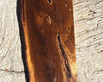 "Hawaiian Pheasant Wood live edge RARE reclaimed 24""x9-11.5""x 1 3/4"""