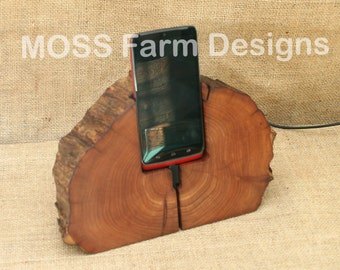 Rustic Phone Dock iPhone Charging Station Droid Holder