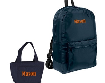 Personalized Monogrammed Matching Backpack Lunchbox Lunch Bag Set Packable Navy