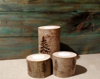 Branch Tea Light Holder Wood Burning - Set of Three
