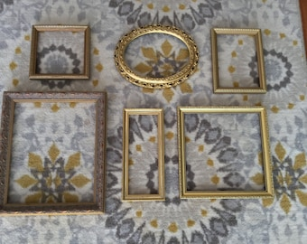 Ornate Gold Frames Set of 6 MEDIUM Fancy Hollywood Regency - Rococo Style -- Use for New Project or Collages!
