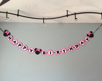 Minnie Mouse Hot Pink Happy Birthday Banner