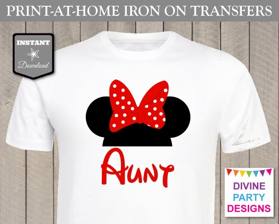 Instant download print at home red girl mouse aunt for Instant t shirt printing