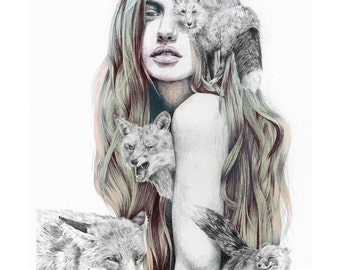 Girl with wild animals, foxes in  illustration