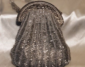 Beautiful Silver Beaded Evening Bag - Prom Perfect!!!!