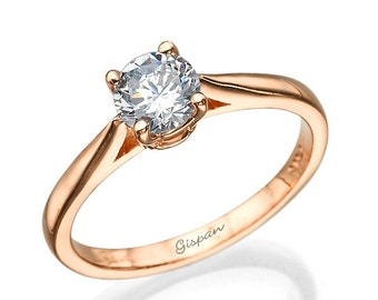 Solitaire Diamond Engagement Ring Rose Gold Engagement Ring 14k Gold Ring Delicate Ring Bridal Ring Woman Diamond Ring