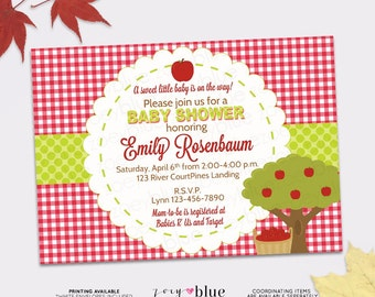 Apple of our Eye Printable Baby Shower Invitation (Fall theme Red and Green Gingham Gender Neutral Boy Girl) - Digital File