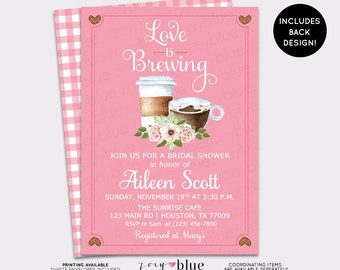 Love is Brewing Bridal Shower Invitation, Coffee Bridal Brunch,  Coffeehouse Baby Shower Couples Shower Wedding Invite - Printable File