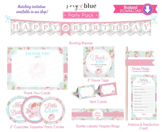 Shabby chic birthday invitation party pack pink first birthday il570xn filmwisefo