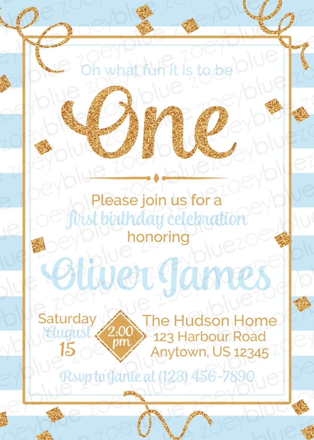 Blue Gold Boy First Birthday Invitation Gold Glitter 1st birthday – The Big One Birthday Invitation