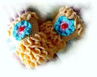Hand warmers,Handmade,Hand knitted,fingerless gloves, romantic,gift,yellow,original,designer,crochet,knitwear,knitted