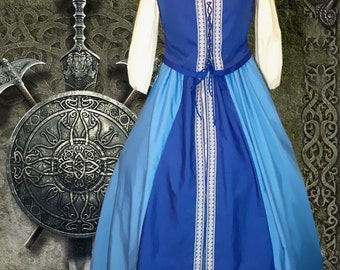xFREE SHIP Renaissance Medieval Gown SCA Garb Costume Celtic Blues Front Lacing 2pc lxl
