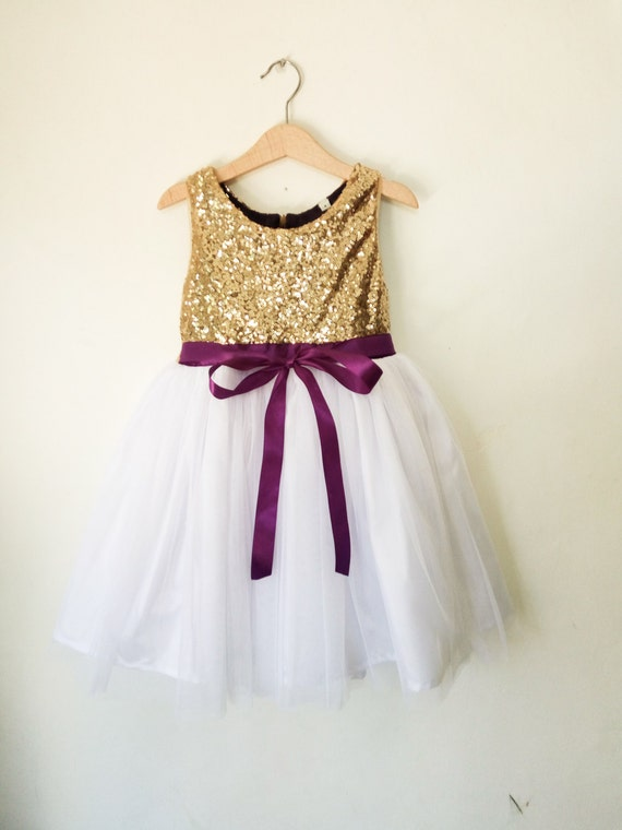 flower girls dress gold white and purple gold sequined